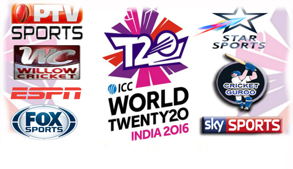 World T20 2016 Live Streaming rights for TV Channels